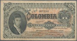 Colombia / Kolumbien: Republica De Colombia Pair With 25 Pesos 1904 P.313 (F/F+) And 1/2 Peso 1948 P - Kolumbien