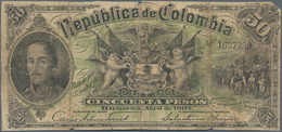 Colombia / Kolumbien: Republica De Colombia 50 Pesos 1904, P.314, Cut Borders, Small Missing Part At - Colombie
