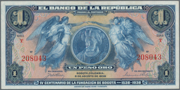 Colombia / Kolumbien: Banco De La República 1 Peso Oro 1938 Commemorating 400th Anniversary Founding - Kolumbien