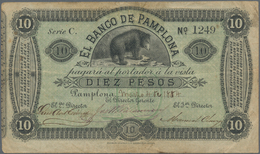 Colombia / Kolumbien: El Banco De Pamplona 10 Pesos 1884, P.S713, Seldom Offered Regional Issue, Sti - Kolumbien