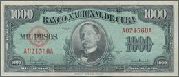 Cuba: Pair With 10 Pesos 1938 P.71d (F-/F) And 1000 Pesos 1950 P.84a (VF+). (2 Pcs.) - Kuba