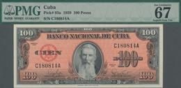 Cuba: Banco Nacional De Cuba Pair Of 100 Pesos 1959, P.93a With Consecutive Serial Numbers C180813A - Kuba