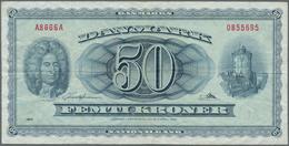 Denmark  / Dänemark: Pair With 1 Krone 1921 P.12g (F+) And 50 Kroner 1966 P.45a (F+). (2 Pcs.) - Dänemark