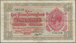 East Africa / Ost-Afrika: The East African Currency Board 1 Rupee 1920, P.7, Highly Rare Banknote In - Banknoten