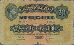 East Africa / Ost-Afrika: Pair With 10 Shillings 1939 P.26B (F) And 20 Shillings 1951 P.30b (VG/F-). - Banknoten