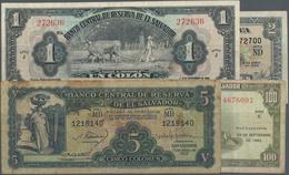 El Salvador: Nice Set With 4 Banknotes Containing 1 Colon 1949 P.83a (VF), 2 Colones 1964 P.101 (F+) - Salvador