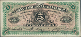 El Salvador: Banco Nacional Del Salvador 5 Pesos 1913, P.S162c, Some Soft Vertical Folds And Minor O - Salvador
