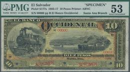 El Salvador: Banco Occidental De La Republica Del El Salvador 10 Pesos 1905, Santa Ana Branch SPECIM - Salvador