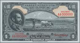Ethiopia / Äthiopien: The State Bank Of Ethiopia 1 Dollar ND(1945) SPECIMEN With Signature Rozell, P - Aethiopien