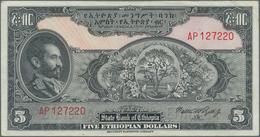 Ethiopia / Äthiopien: Pair With 5 Dollars ND(1945) P.13a (VF+) And 5 Dollars ND(1961) P.19 (VF). (2 - Aethiopien