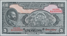 Ethiopia / Äthiopien: The State Bank Of Ethiopia 5 Dollars ND(1945) SPECIMEN With Signature Rozell, - Aethiopien