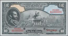 Ethiopia / Äthiopien: The State Bank Of Ethiopia 10 Dollars ND(1945) SPECIMEN With Signature Rozell, - Aethiopien