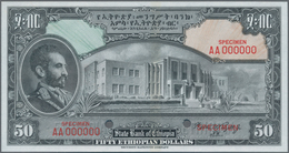 Ethiopia / Äthiopien: The State Bank Of Ethiopia 50 Dollars ND(1945) SPECIMEN With Signature Rozell, - Aethiopien