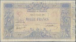 France / Frankreich: Banque De France 1000 Francs October 9th 1890 With Signatures: Delmotte, D'Anfr - Francia