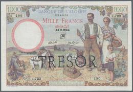 "France / Frankreich: Trésor Central 1000 Francs 1942, Overprint ""TRESOR"" On Algeria #89, P.112b, Iss - Francia"