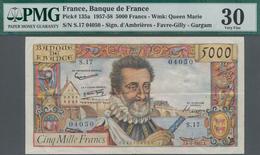 France / Frankreich: Banque De France 5000 Francs 1957, P.135, Still Great Condition With A Few Fold - Francia