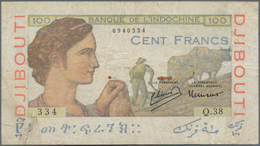 French Somaliland / Französisch Somaliland: Banque De L'Indochine 100 Francs ND(1946), P.19A, Lightl - Banknoten