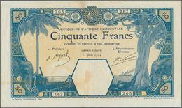 French West Africa / Französisch Westafrika: 50 Francs 1924 GRAND-BASSAM P. 9Db, Only Light Folds, A - West African States