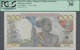 French West Africa / Französisch Westafrika: Banque De L'Afrique Occidentale 500 Francs 1948, P.41, - West African States