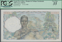 French West Africa / Französisch Westafrika: Banque De L'Afrique Occidentale 1000 Francs 1948, P.42, - West African States