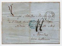 - Lettre HAMBURG (Hambourg / Allemagne) Via VALENCIENNES Pour NANTES 7 MARS 1857 - Taxe Munuscrite 12 Décimes - - Marques D'entrées
