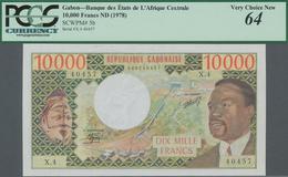 Gabon / Gabun: Banque Des États De L'Afrique Centrale - République Gabonaise 10.000 Francs ND(1978), - Gabon