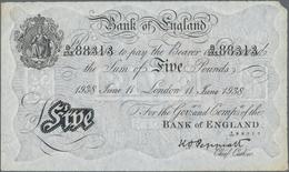 "Great Britain / Großbritannien: Bank Of England 5 Pounds 1938 ""Bernhard"" Forgery, London Branch And - [ 1] Grossbritannien"