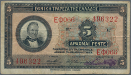 Greece / Griechenland: Pair Of The 5 Drachmai 1923 Printer BWC First Series P.70 (F-) And 5 Drachmai - Griechenland