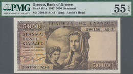 Greece / Griechenland: Bank Of Greece 5000 Drachmai 1947, P.181, Almost Perfect Condition And PMG Gr - Griechenland