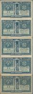 Greece / Griechenland: Vasilion Tis Ellados Uncut Sheet Of 5 Pcs. Of The 50 Lepta ND(1920), P.303a, - Griechenland