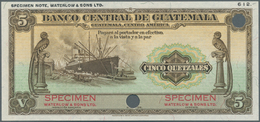 Guatemala:  Banco Central De Guatemala 5 Quetzales 1934-45 SPECIMEN By Waterlow & Sons Ltd., P.16s W - Guatemala