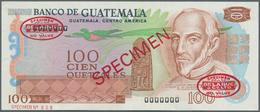 Guatemala: Banco De Guatemala 100 Quetzales 1972-83 TDLR Specimen, P.64s, Traces Of Glue On Back, Ot - Guatemala