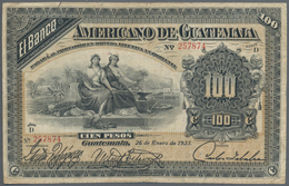 Guatemala: El Banco Americano De Guatemala 100 Pesos 1923, P.114a, Still Great Condition For This La - Guatemala