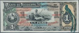 Guatemala: Banco De Occidente 1 Peso 1914 SPECIMEN, P.S173cs With Zero Serial Number, Punch Hole Can - Guatemala