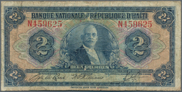 """Haiti: Banque Nationale De La République D'Haïti 2 Gourdes ND (1935-1942) Convention 12.04.1919 """"Pre - Haïti"""