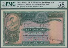 Hong Kong: The Hong Kong & Shanghai Banking Corporation 10 Dollars 1958, P.179Ab, Excellent Conditio - Hongkong
