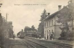 DORDOGNE - LAMONZIE St MARTIN - La Gare Avec LOCOMOTIVE 1919 - France