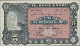 Iceland / Island: Íslands Banki 5 Kronur 1920 Remainder, P.5r In Perfect UNC Condition. - Island