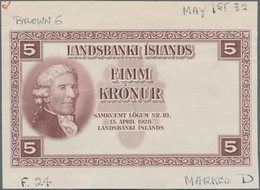 Iceland / Island: Landsbanki Íslands Front And Reverse Proof Of The 5 Kronur L.1928 P.27 For Type Wi - Island