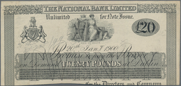 Ireland / Irland: The National Bank Limited 20 Pounds 1900 Uniface Front Proof, P.NL With Annotation - Irland