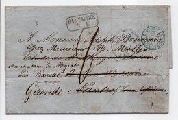 Lettre ALTONA Via DÄNEMARK R. 1. Pour NANTES Via VALENCIENNES Pour BARSAC 26 SEPT 1861 - Taxe Munuscrite 8 Décimes - Marcofilie (Brieven)