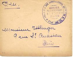 75-cachet Ambulance Paul Déroulède -Assistance Aux Convalescents Militaires N°1044 Sur Lettre De Paris En 14/18-rare - WW I