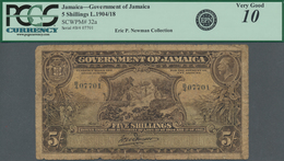Jamaica: Government Of Jamaica 5 Shillings L.1904 And 1918, P.32a With Two Serial Numbers From The E - Jamaica
