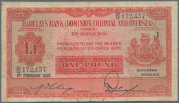 Jamaica: Barclays Bank (Dominion, Colonial & Overseas) – Kingston, Jamaica 1 Pound Dated February 1s - Jamaica