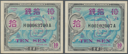 """Japan: Allied Military Command Set With 4x 10 Sen ND(1945), Letter """"B"""" In Underprint With Serial Num - Japan"""