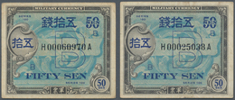 """Japan: Allied Military Command Set With 3x 50 Sen ND(1945), Letter """"B"""" In Underprint With Serial Num - Japan"""
