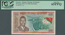 Katanga: Banque Nationale Du Katanga 10 Francs Katangais ND(1960) Remainder Without Date And Serial, - Banknoten