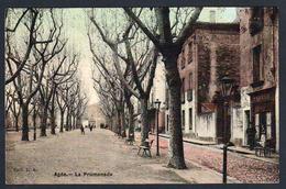 """AGDE: Belle Vue Animée Sur La """"Promenade"""" Magnifique Carte Toilée Obl En 1911 Et Taxée à 20c. SUPERBE - France"""