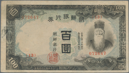 Korea: Bank Of Chosen, Pair Of 100 Won ND(1944) With Different Underprint Color On Front And Reverse - Korea (Süd-)
