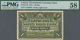 Latvia / Lettland: 1 Rublis 1919 Government Currency Note, P.2b, Almost Perfect With A Few Minor Sta - Lettland